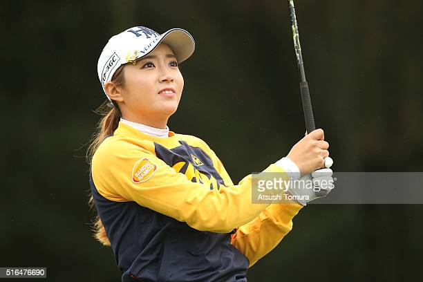 BoMee Lee of South Korea hits her tee shot on the 9th hole during the second round of the TPoint Ladies Golf Tournament at the Wakagi Golf Club on...