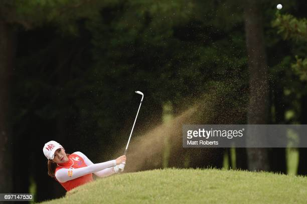 BoMee Lee of South Korea hits out of the bunker on the 9th hole during the final round of the Nichirei Ladies at the on June 18 2017 in Chiba Japan