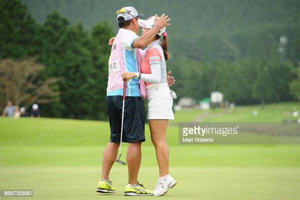 BoMee Lee of South Korea hugs her caddie after winning the final round of the CAT Ladies Golf Tournament HAKONE JAPAN 2017 at the Daihakone Country...