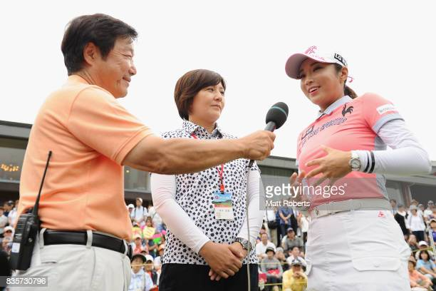 BoMee Lee of South Korea is interviewed after winning the final round of the CAT Ladies Golf Tournament HAKONE JAPAN 2017 at the Daihakone Country...