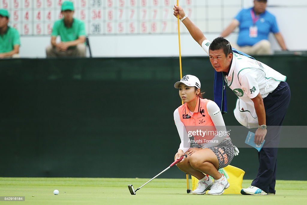 Bo-Mee Lee of South Korea lines up he birdie putt on the 16th green during the third round of the Earth Mondamin Cup at the Camellia Hills Country Club on June 25, 2016 in Sodegaura, Japan.