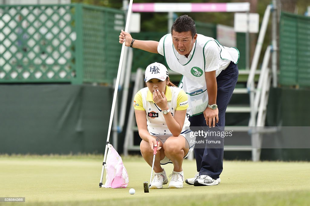 Bo-Mee Lee of South Korea lines up her birdie putt on the 18th green during the second round of the World Ladies Championship Salonpas Cup at the Ibaraki Golf Club on May 6, 2016 in Tsukubamirai, Japan.