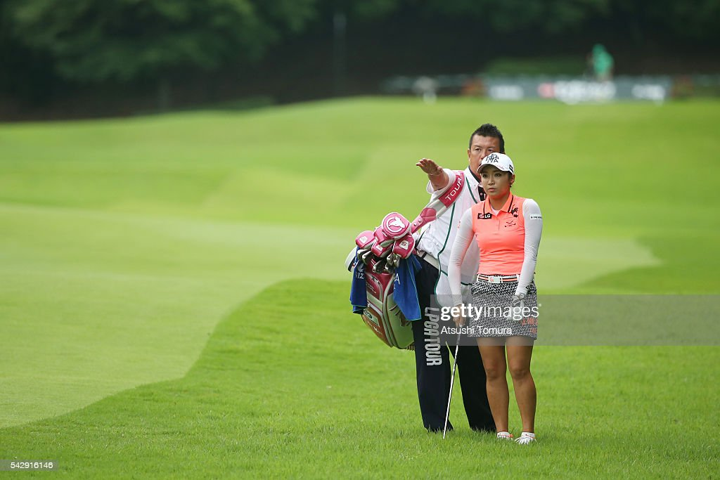 Bo-Mee Lee of South Korea lines up her second shot on the 16th hole during the third round of the Earth Mondamin Cup at the Camellia Hills Country Club on June 25, 2016 in Sodegaura, Japan.