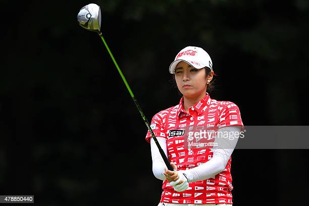 BoMee Lee of South Korea looks on during the final round of the Earth Mondamin Cup at the Camellia Hills Country Club on June 28 2015 in Sodegaura...