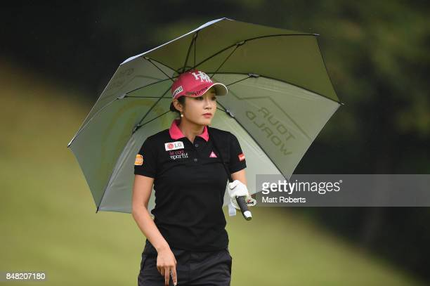 BoMee Lee of South Korea looks on during the final round of the Munsingwear Ladies Tokai Classic 2017 at the Shin Minami Aichi Country Club Mihama...