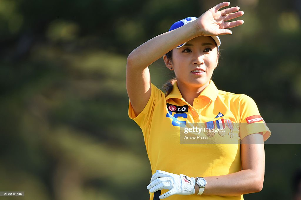 Bo-Mee Lee of South Korea looks on during the first round of the World Ladies Championship Salonpas Cup at the Ibaraki Golf Club on May 5, 2016 in Tsukubamirai, Japan.