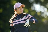 BoMee Lee of South Korea looks on during the second round of the Munsingwear Ladies Tokai Classic at the Shin Minami Aichi Country Club Mihama Course...
