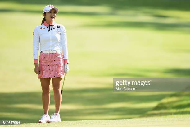 BoMee Lee of South Korea looks on during the third round of the 50th LPGA Championship Konica Minolta Cup 2017 at the Appi Kogen Golf Club on...