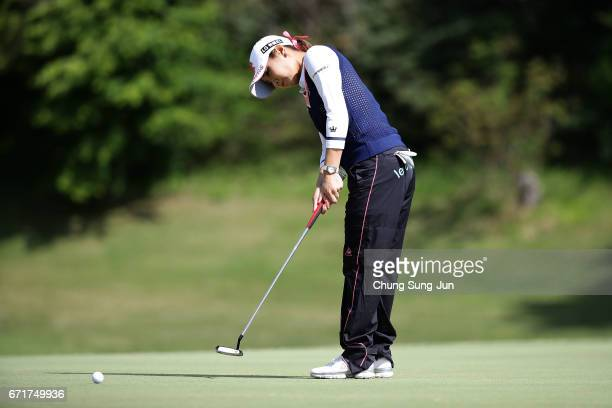 BoMee Lee of South Korea plays a putt on the 2nd green during the final round of Fujisankei Ladies Classic at the Kawana Hotel Golf Course Fuji...