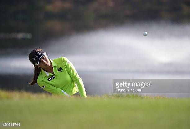 BoMee Lee of South Korea plays a shot on the 17th hole during the third round of the Nobuta Group Masters GC Ladies at the Masters Gold Club on...