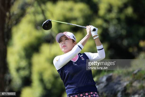 BoMee Lee of South Korea plays a tee shot on the 3rd hole during the final round of Fujisankei Ladies Classic at the Kawana Hotel Golf Course Fuji...