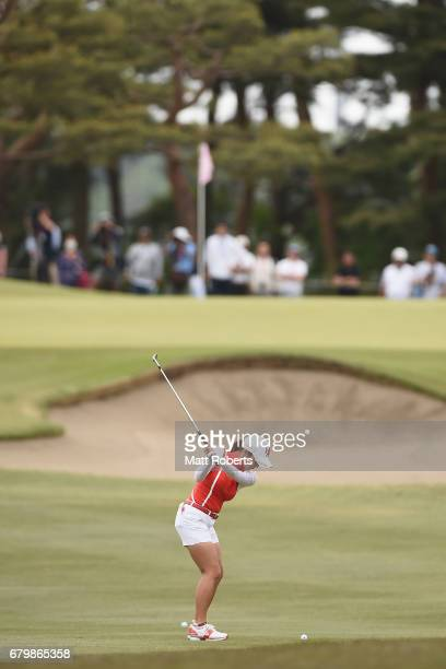 BoMee Lee of South Korea plays her approach shot on the 5th hole during the final round of the World Ladies Championship Salonpas Cup at the Ibaraki...