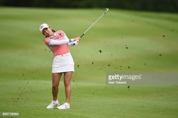 BoMee Lee of South Korea plays her approach shot on the 9th hole during the final round of the CAT Ladies Golf Tournament HAKONE JAPAN 2017 at the...