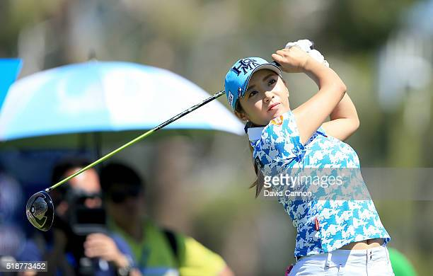 BoMee Lee of South Korea plays her tee shot at the par 4 third hole during the third round of the 2016 ANA Inspiration at the Mission Hills Country...
