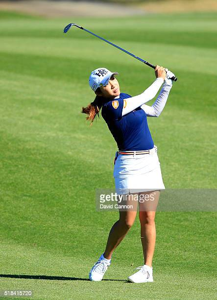 BoMee Lee of South Korea plays her third shot at the par 5 second hole during the first round of the 2016 ANA Inspiration at Mission Hills Country...