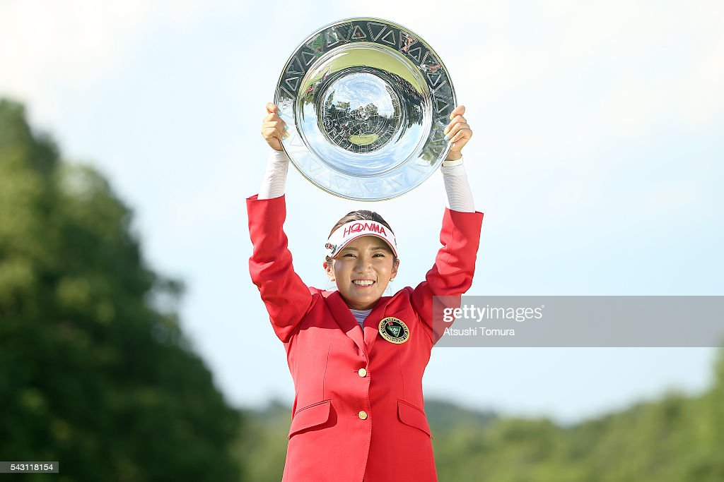 Bo-Mee Lee of South Korea poses with the plate after winning the Earth Mondamin Cup at the Camellia Hills Country Club on June 25, 2016 in Sodegaura, Japan.