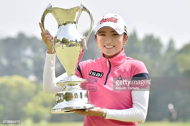 BoMee Lee of South Korea poses with the trophy after winning the HokennoMadoguchi Ladies at the Fukuoka Country Club Ishino Course on May 17 2015 in...