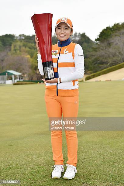 BoMee Lee of South Korea poses with the trophy after winning the Yokohama Tire PRGR Ladies Cup at the Tosa Country Club on March 13 2016 in Konan...