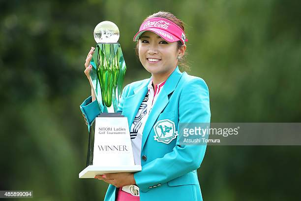 BoMee Lee of South Korea poses with trophy after winning the Nitori Ladies 2015 at the Otaru Country Club on August 30 2015 in Otaru Japan