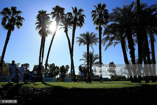 BoMee Lee of South Korea prepares hits a shot on the 14th hole during the 2016 ANA Inspiration Championship at the Mission Hills Country Club on...