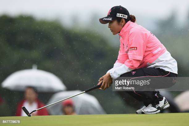 BoMee Lee of South Korea prepares to putt on the 17th green during the second round of the Munsingwear Ladies Tokai Classic 2017 at the Shin Minami...