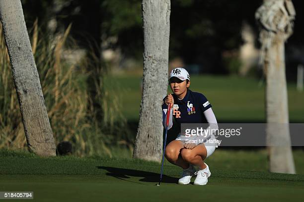 BoMee Lee of South Korea putts on the 13th hole during the 2016 ANA Inspiration Championship at the Mission Hills Country Club on March 31 2016 in...
