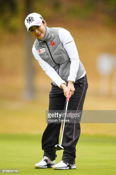 BoMee Lee of South Korea putts on the 1st hole during the third round of the Daio Paper Elleair Ladies Open 2017 at the Elleair Golf Club on November...