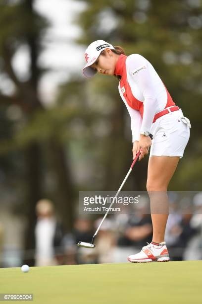 BoMee Lee of South Korea putts on the 9th hole during the final round of the World Ladies Championship Salonpas Cup at the Ibaraki Golf Club on May 7...