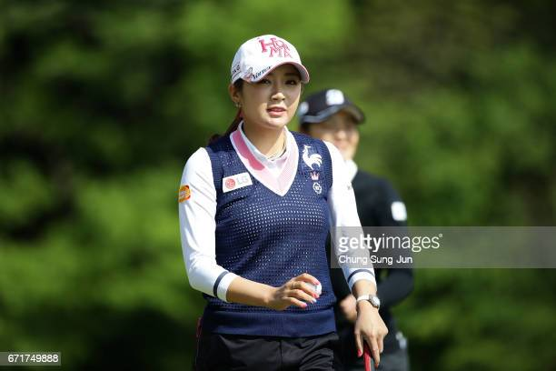 BoMee Lee of South Korea reacts after a putt on the 2nd green during the final round of Fujisankei Ladies Classic at the Kawana Hotel Golf Course...