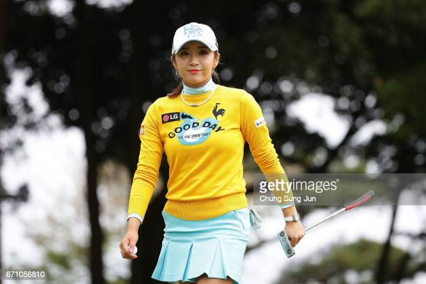 BoMee Lee of South Korea reacts after a putt on the 3rd green during the first round of Fujisankei Ladies Classic at the Kawana Hotel Golf Course...