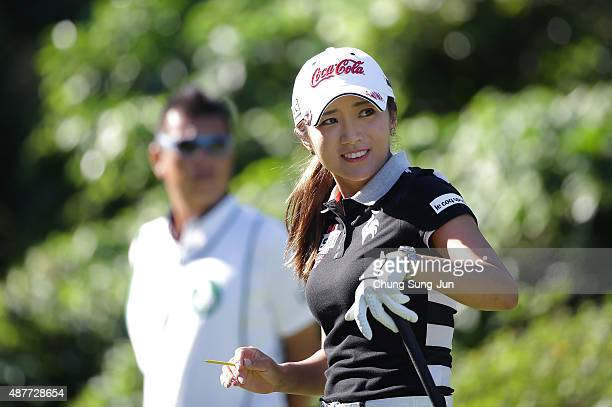BoMee Lee of South Korea reacts after a tee shot on the third hole during the second round of the 48th LPGA Championship Konica Minolta Cup 2015 at...
