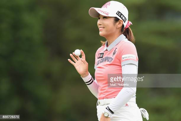 BoMee Lee of South Korea reacts after her putt during the final round of the CAT Ladies Golf Tournament HAKONE JAPAN 2017 at the Daihakone Country...