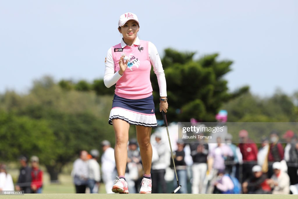 Bo-Mee Lee of South Korea reacts during the final round of the Daikin Orchid Ladies Golf Tournament at the Ryukyu Golf Club on March 5, 2017 in Nanjo, Japan.