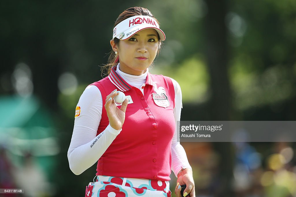 Bo-Mee Lee of South Korea reacts during the final round of the Earth Mondamin Cup at the Camellia Hills Country Club on June 25, 2016 in Sodegaura, Japan.