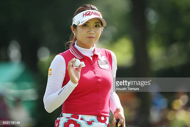 BoMee Lee of South Korea reacts during the final round of the Earth Mondamin Cup at the Camellia Hills Country Club on June 25 2016 in Sodegaura Japan