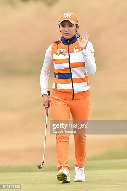 BoMee Lee of South Korea reacts during the final round of the Yokohama Tire PRGR Ladies Cup at the Tosa Country Club on March 13 2016 in Konan Japan