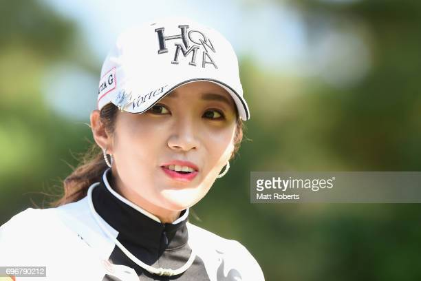 BoMee Lee of South Korea reacts during the second round of the Nichirei Ladies at the on June 17 2017 in Chiba Japan