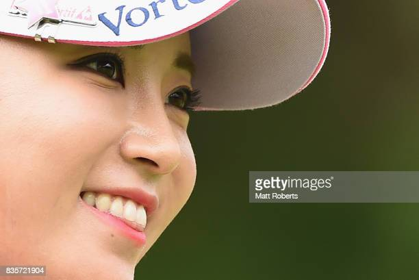 BoMee Lee of South Korea smiles during the final round of the CAT Ladies Golf Tournament HAKONE JAPAN 2017 at the Daihakone Country Club on August 20...