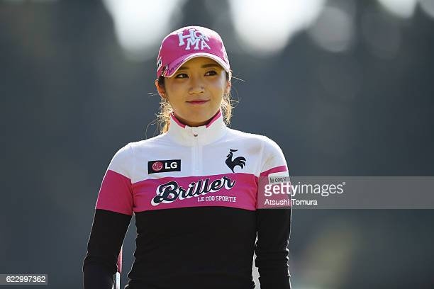 BoMee Lee of South Korea smiles during the final round of the Itoen Ladies Golf Tournament 2016 at the Great Island Club on November 13 2016 in...