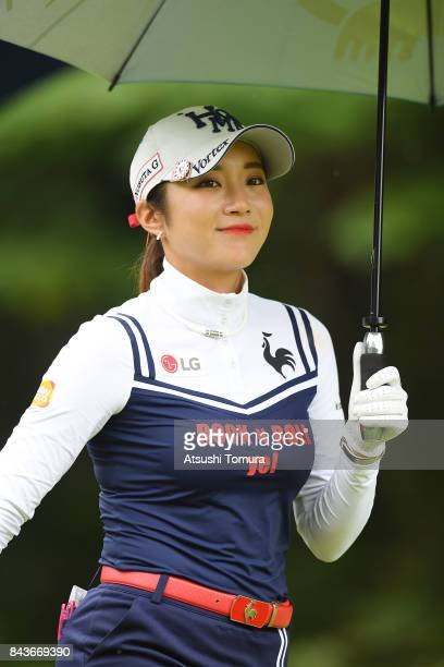 BoMee Lee of South Korea smiles during the first round of the 50th LPGA Championship Konica Minolta Cup 2017 at the Appi Kogen Golf Club on September...