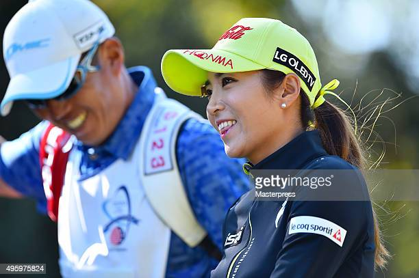 BoMee Lee of South Korea smiles during the first round of the TOTO Japan Classics 2015 at the Kintetsu Kashikojima Country Club on November 6 2015 in...