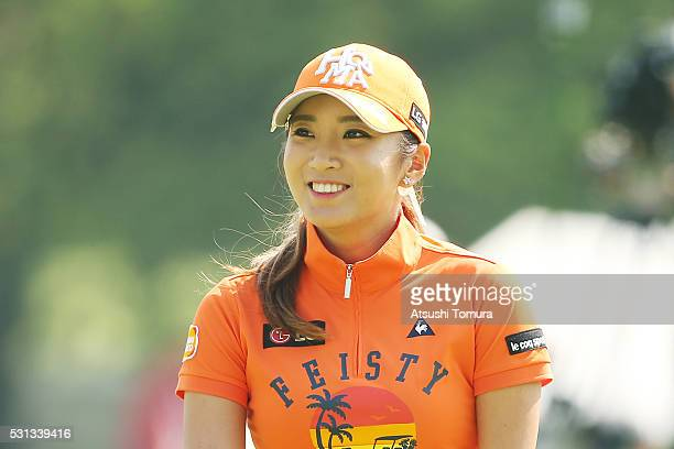 BoMee Lee of South Korea smiles during the second round of the HokennoMadoguchi Ladies at the Fukuoka Country Club Ishino Course on May 14 2016 in...