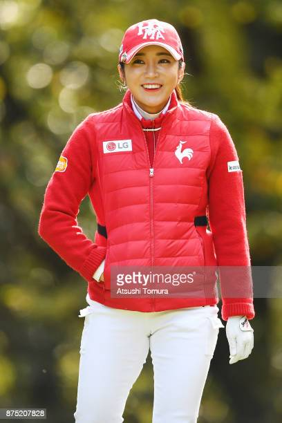 BoMee Lee of South Korea smiles during the second round of the Daio Paper Elleair Ladies Open 2017 at the Elleair Golf Club on November 17 2017 in...