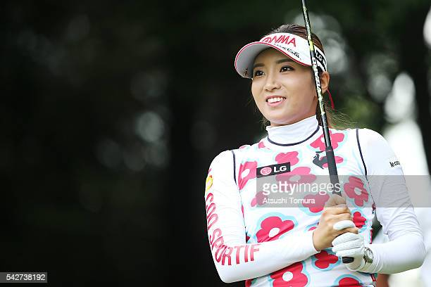 BoMee Lee of South Korea smiles during the second round of the Earth Mondamin Cup at the Camellia Hills Country Club on June 24 2016 in Sodegaura...