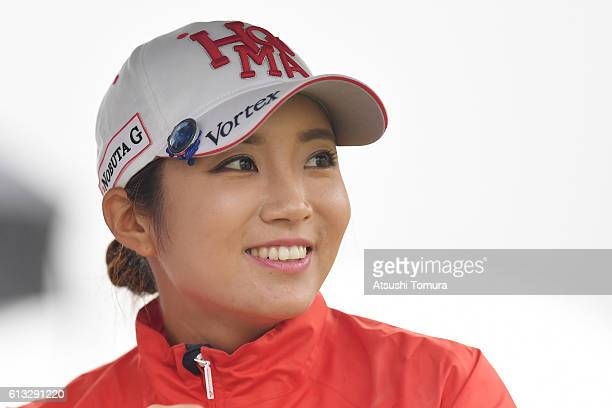 BoMee Lee of South Korea smiles during the second round of the Stanley Ladies Golf Tournament at the Tomei Country Club on October 8 2016 in Susono...
