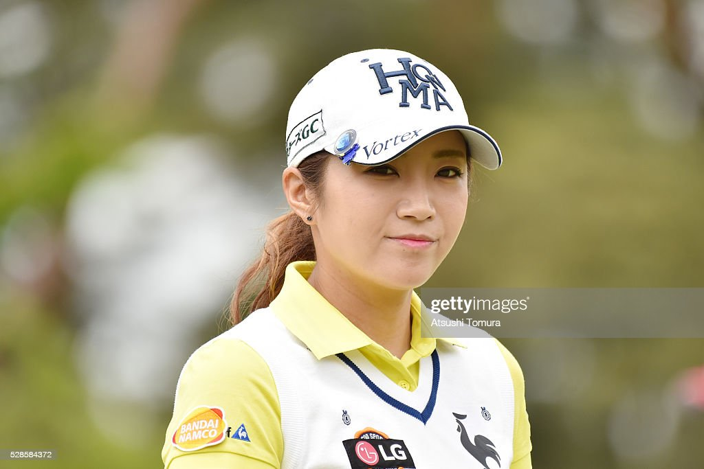 Bo-Mee Lee of South Korea smiles during the second round of the World Ladies Championship Salonpas Cup at the Ibaraki Golf Club on May 6, 2016 in Tsukubamirai, Japan.