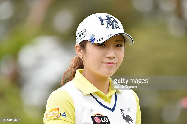 BoMee Lee of South Korea smiles during the second round of the World Ladies Championship Salonpas Cup at the Ibaraki Golf Club on May 6 2016 in...