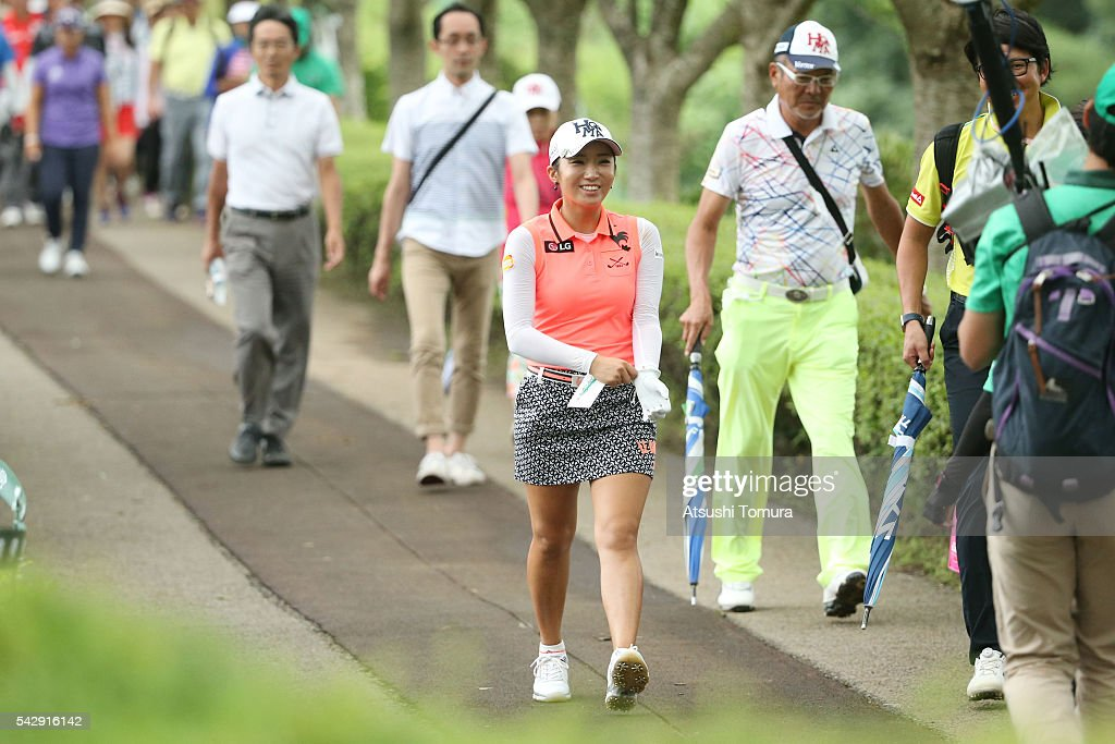 Bo-Mee Lee of South Korea smiles during the third round of the Earth Mondamin Cup at the Camellia Hills Country Club on June 25, 2016 in Sodegaura, Japan.