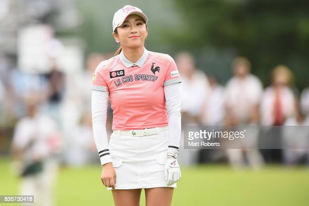 BoMee Lee of South Korea smiles on the 18th green during the final round of the CAT Ladies Golf Tournament HAKONE JAPAN 2017 at the Daihakone Country...