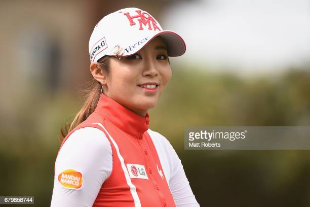BoMee Lee of South Korea smiles on the 4th hole fairway during the final round of the World Ladies Championship Salonpas Cup at the Ibaraki Golf Club...